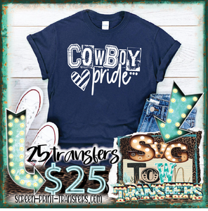 COWBOY PRIDE - WHITE  - PRESALE - SHIPS IN 7-10 DAYS- PACK OF 25