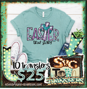 EASTER - TRUE STORY - CROSS - Full Color Transfer -  PRE-SALE - SHIPS IN 7-10 BUSINESS DAYS - PACK OF 10