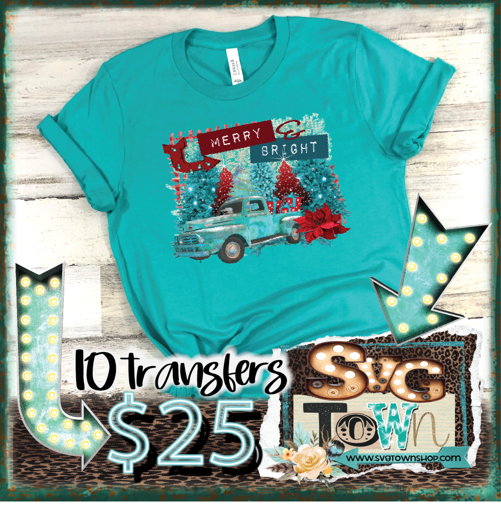 RESTOCK - Merry and Bright Christmas Truck -  Full Color Transfer -  PRE-SALE - SHIPS IN 10-14 BUSINESS DAYS - PACK OF 10