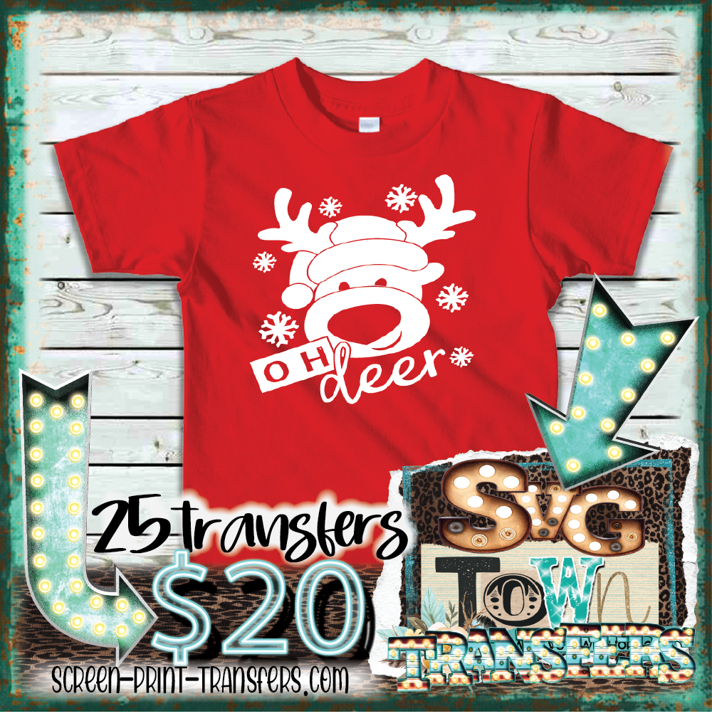 OH DEER - BOY REINDEER - YOUTH SIZE - PRESALE - SHIPS IN 10-14 BUSINESS DAYS - PACK OF 25