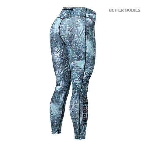 BETTER BODIES PRINTED TIGHTS - TURQUOISE