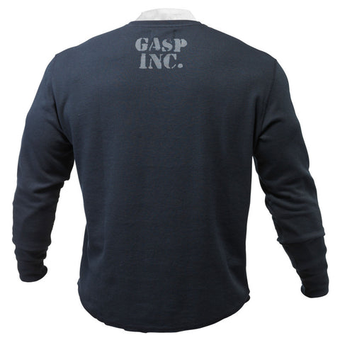 GASP THERMAL GYM SWEATER - ASPHALT - BACK