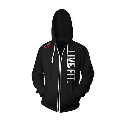 LIVE FIT ZIP UP HOODIE - BLACK