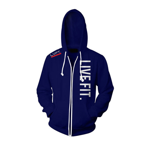 LIVE FIT ZIP UP HOODIE - NAVY