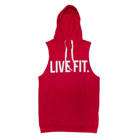 LIVE FIT ORIGINAL CUTOFF HOODIE - RED