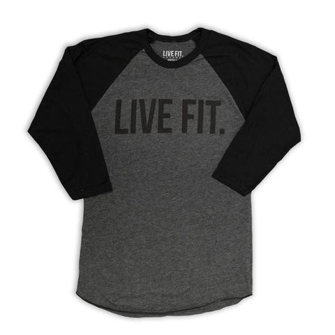 LIVE FIT BASEBALL RAGLAN - HEATHER BLACK