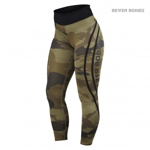 BETTER BODIES HIGH WAIST TIGHTS - DARK GREEN CAMO