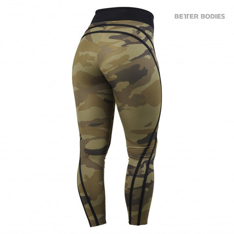 BETTER BODIES HIGH WAIST TIGHTS - DARK GREEN CAMO - BACK
