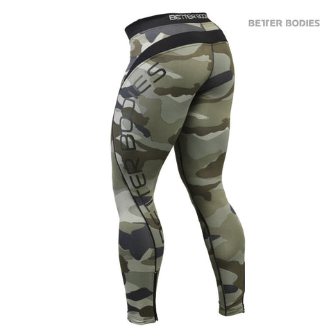 BETTER BODIES CAMO LONG TIGHTS - GREEN - REAR