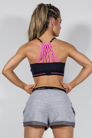 Labellamafia Pink Flow Strap Top - Sport Bra - Back