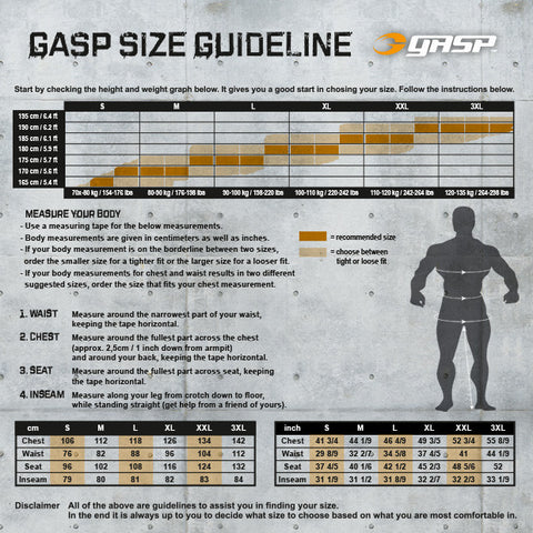 GASP SIZE GUIDE