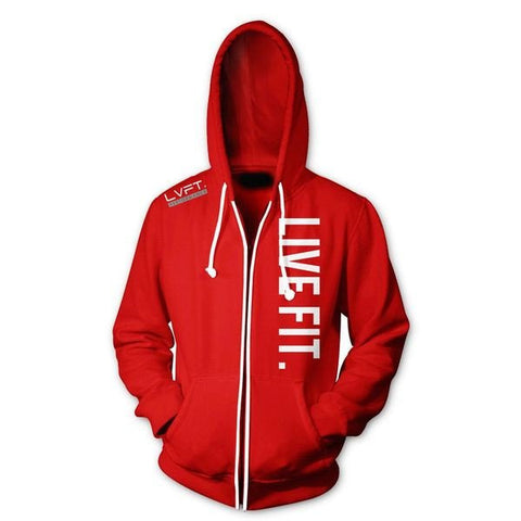 LIVE FIT ZIP UP HOODIE - RED