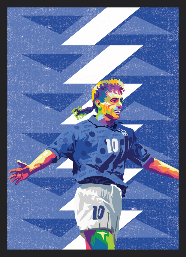 Iconic Roberto Baggio Poster - Football Iconz