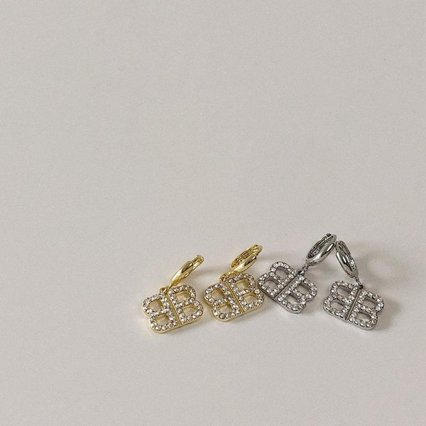 Letters gold-plated inlaid gemstone stud earrings