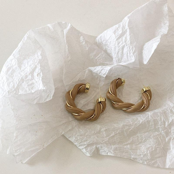 Leather twisted ear hoop silver pin earrings