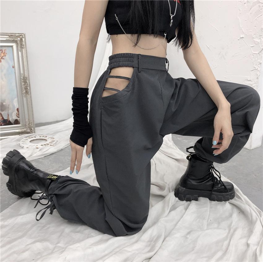 Retro open waist cutout straight trousers
