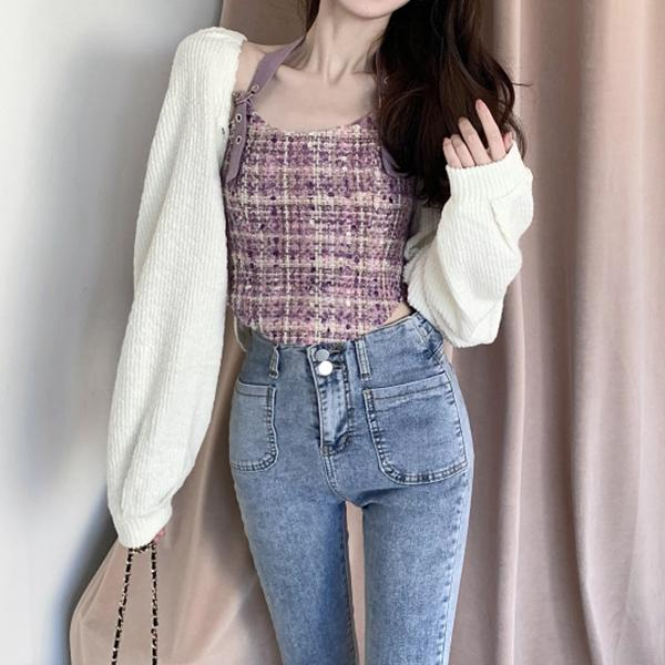Short sweater coat knitted top outer wear