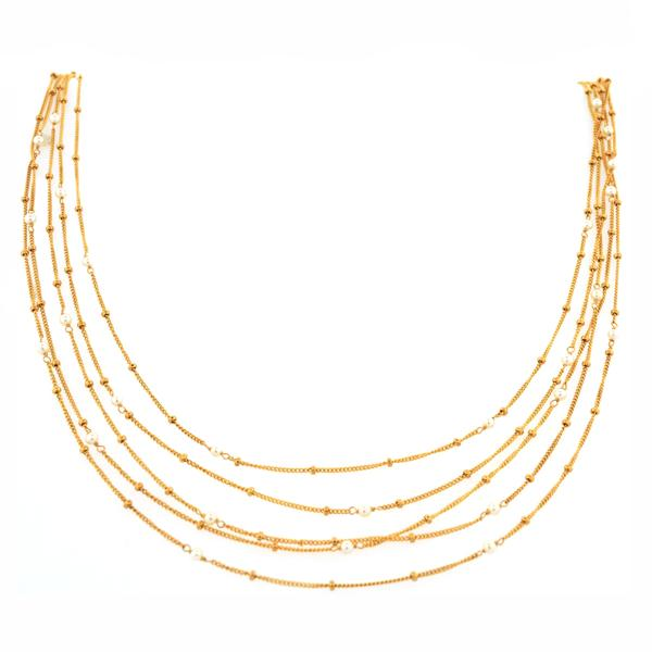 Multi Strand Pearl Necklace 14k