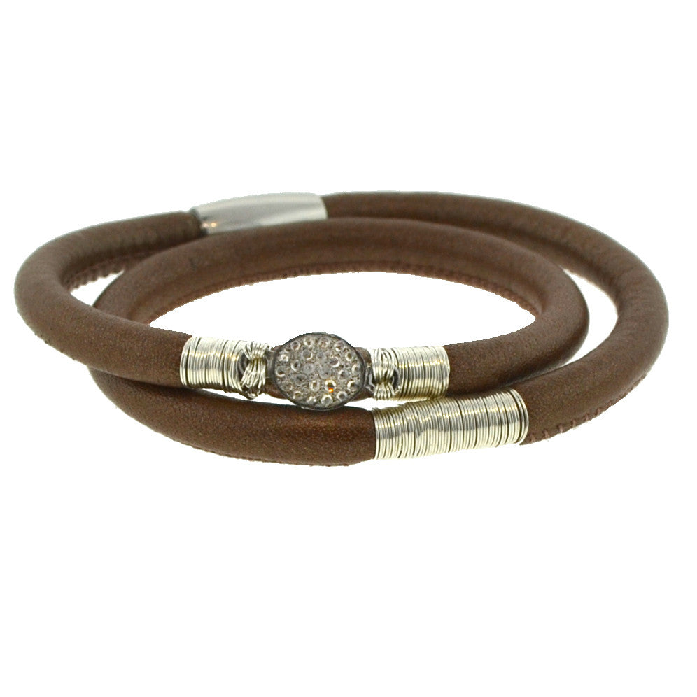 Double Brown Leather Pave Diamond Bracelet