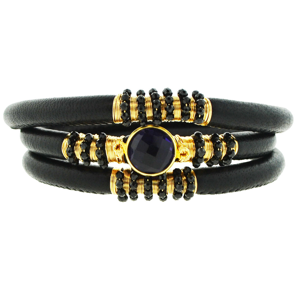 Triple Black Aroma Leather Bracelet