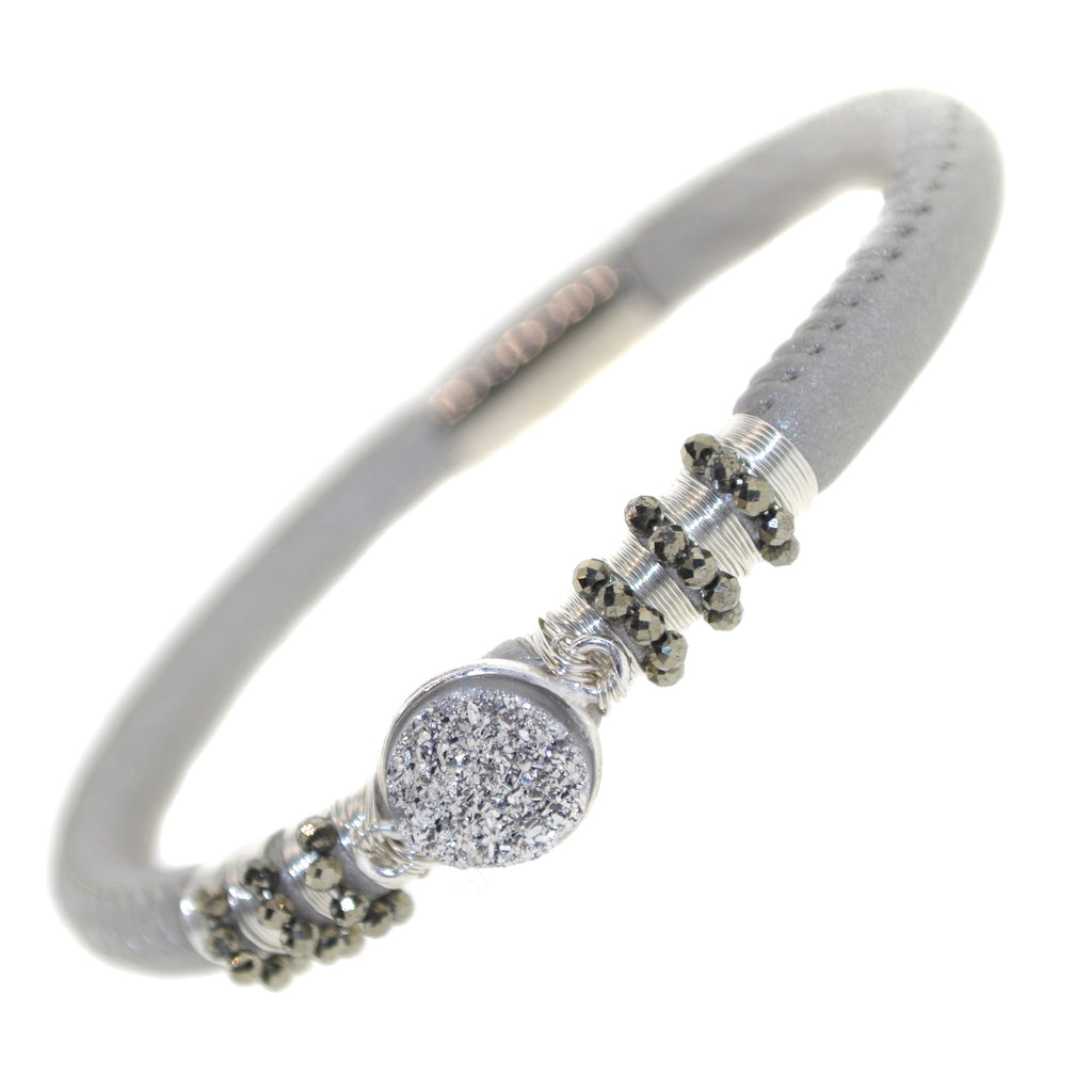 Silver Single Leather Druzy Bracelet-