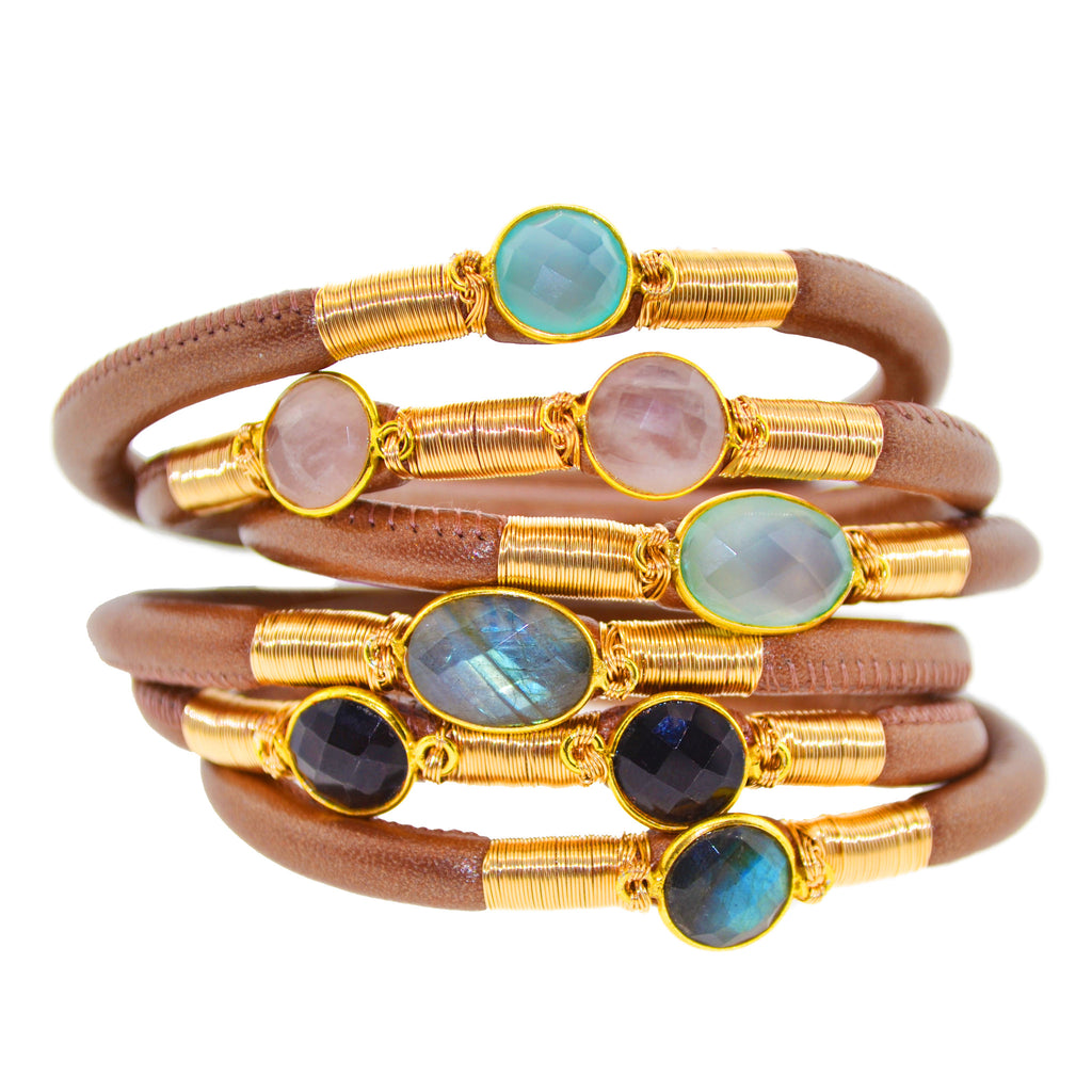 Brown Triple Leather Bracelet with Gems
