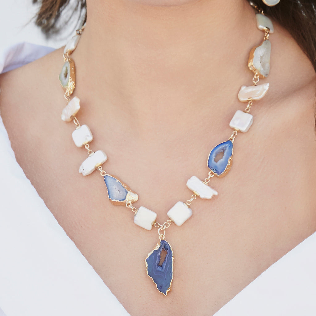 Pearl and Blue Agate Necklace