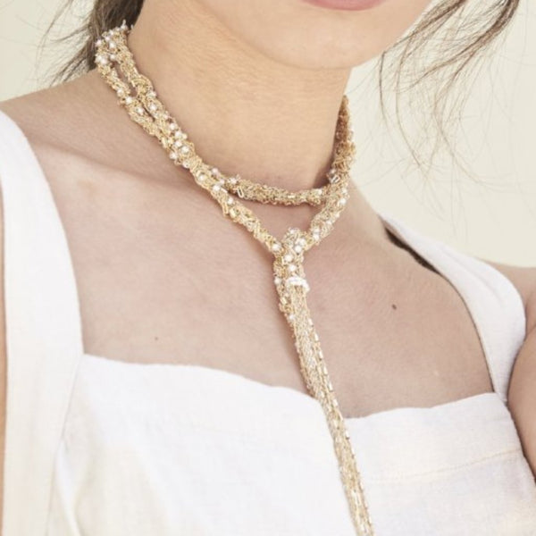 Wrap Tassel Necklace with Pearls