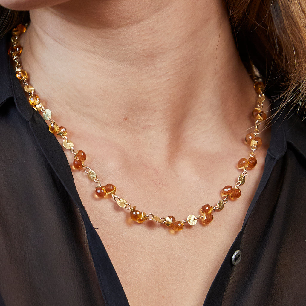 Citrine Coin Necklace