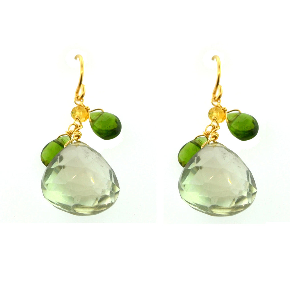 Green Amethyst Glittering Cluster Earrings