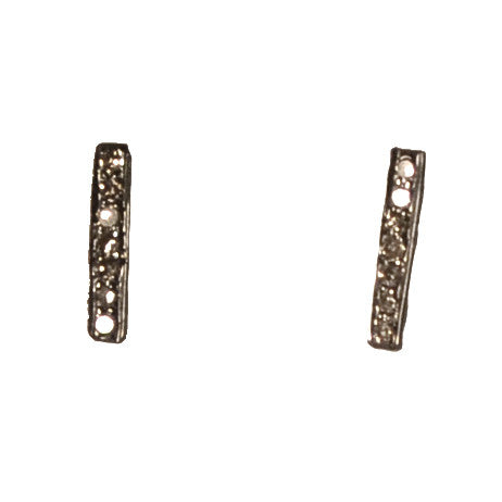 Pave diamond bar stud earrings