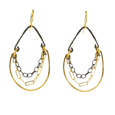 Mixed Metal Chandelier Earrings