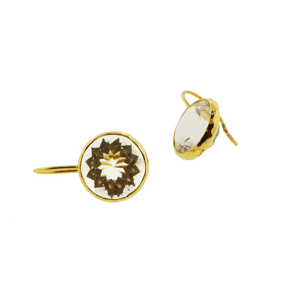 White Topaz in Gold Earrings
