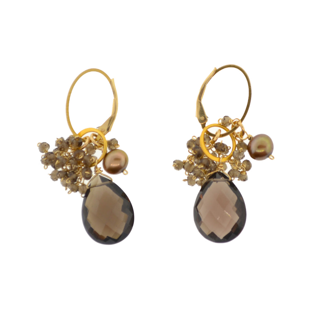 Up/Downtown Smokey Quartz Cluster Earrings