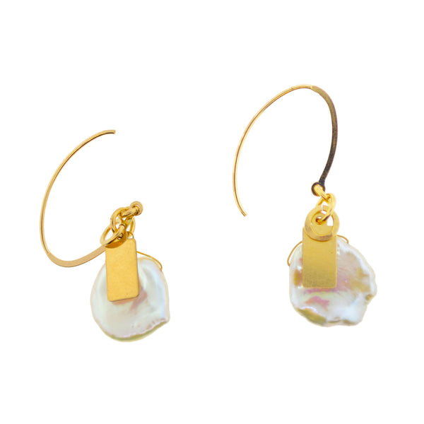Keshi Pearl Long Ear Wire Earrings