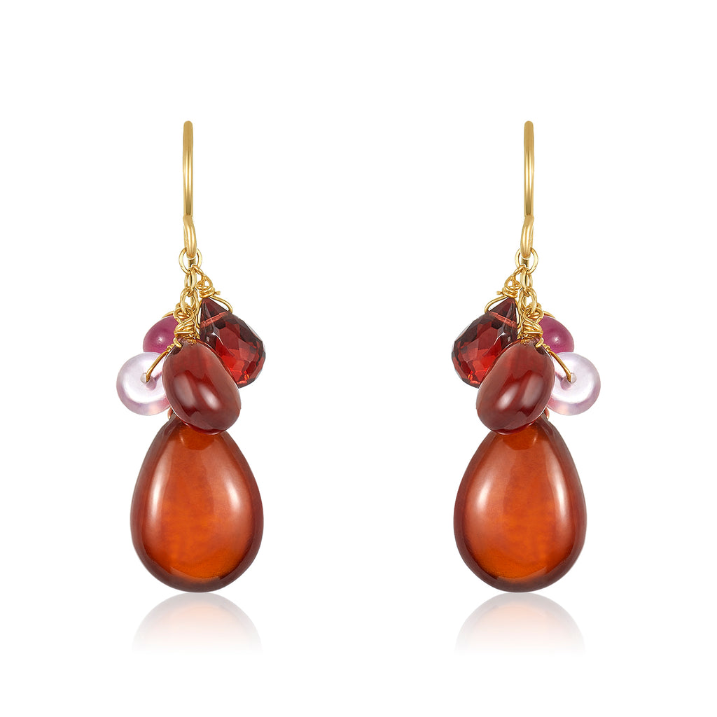 Garnet Ruby Cluster Earrings