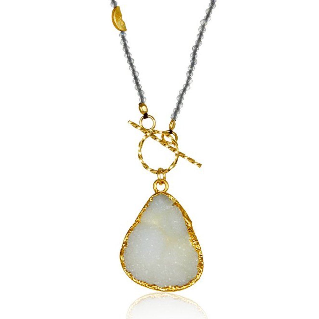 Druzy Half Moon Necklace with Toggle
