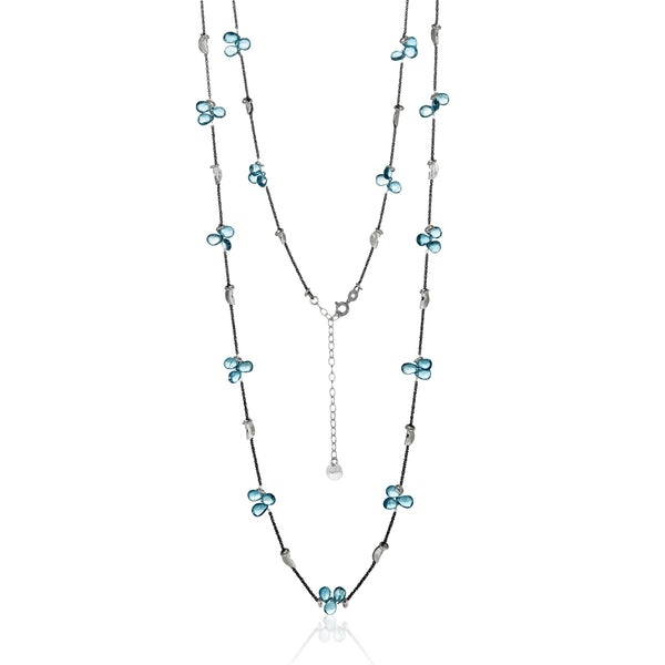 Gem Petal Half Moon Long Necklace