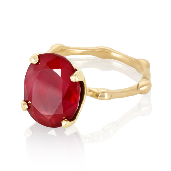 Ruby Bamboo Ring- 14k Gold
