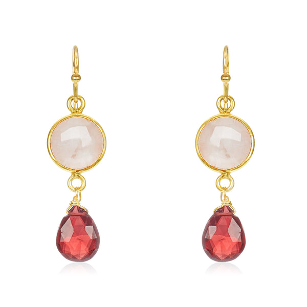 Oval Bezel Set Drop Earrings