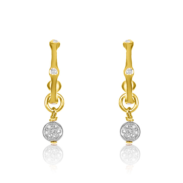 Bamboo Pave Drop Earrings