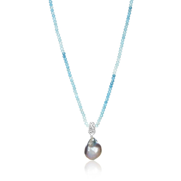Aquamarine Luster Pearl Necklace
