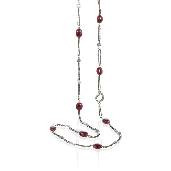 Ruby Pave Diamond Double Chain Long Necklace
