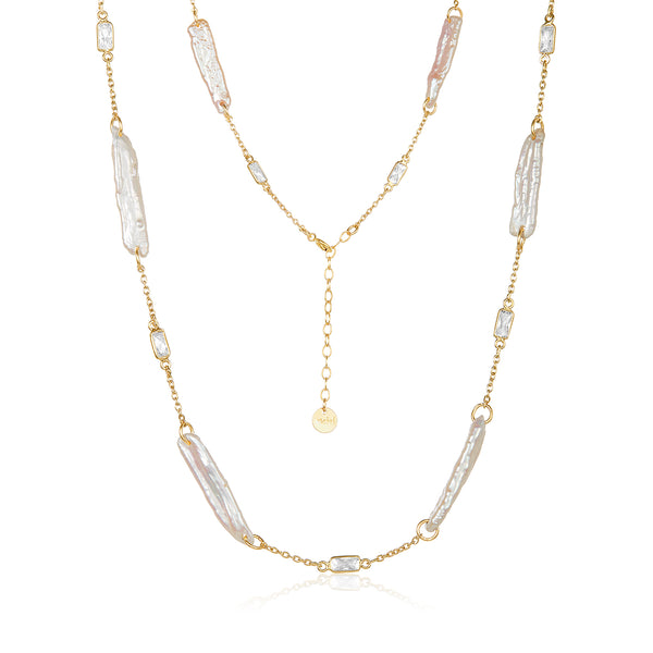 CZ and Stick Pearl Necklace