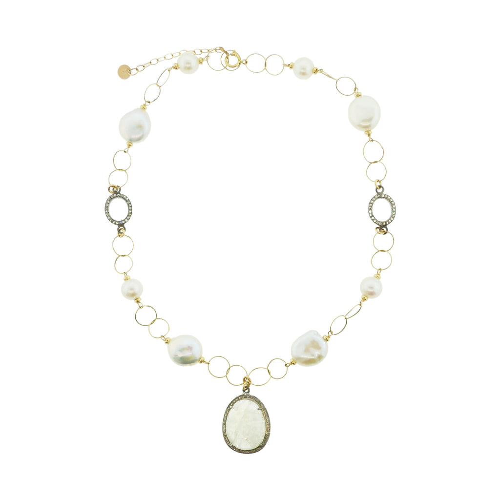 Pave Diamond Pearl Necklace