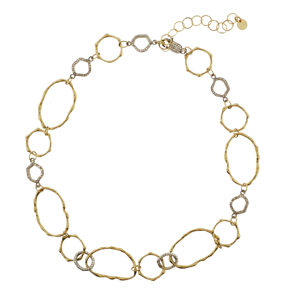 Pavé Diamond Bamboo Necklace/Bracelet Set