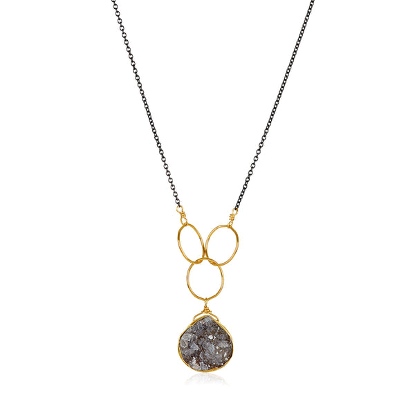 Cassiopeia Black Druzy Necklace
