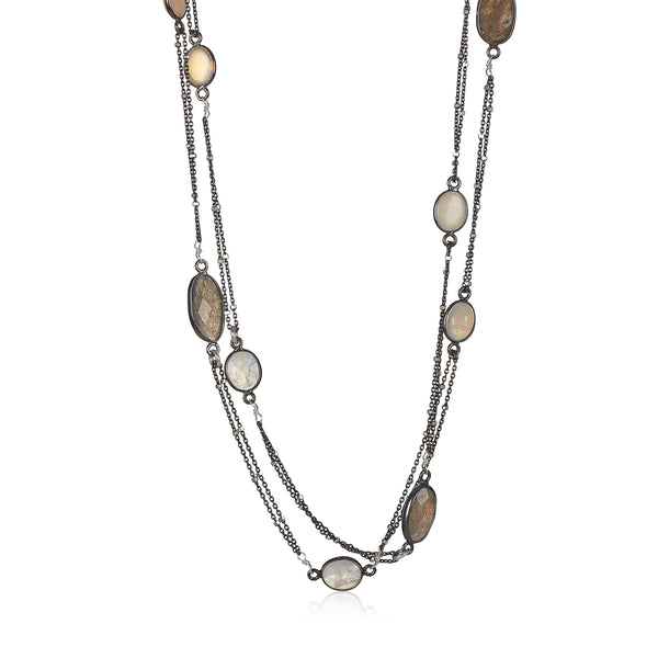 Mixed Moonstone Long Necklace