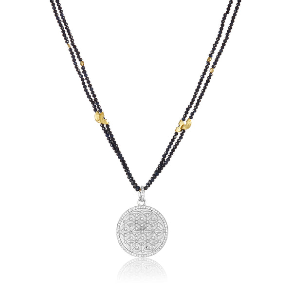 Half Moon with Pave Pendant Necklace