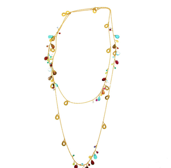 Long Mixed Gem Necklace